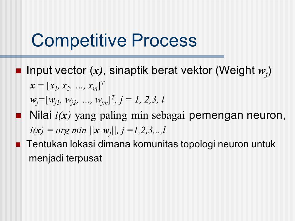 Competitive Process Input vector (x), sinaptik berat vektor (Weight wj) x = [x1, x2, …, xm]T. wj=[wj1, wj2, …, wjm]T, j = 1, 2,3, l.